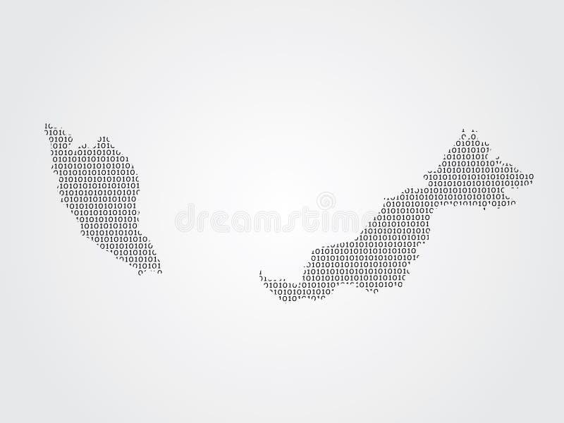 Illustration de carte de vecteur de la Malaisie utilisant des codes binaires sur le fond blanc pour signifier l'avancement de la  illustration stock