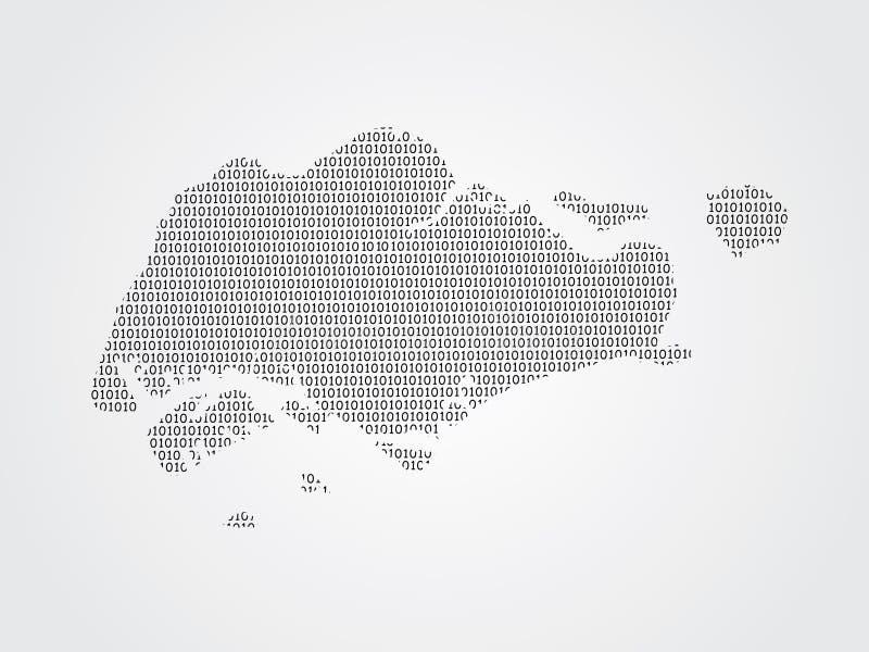 Illustration de carte de vecteur de Singapour utilisant des codes binaires sur le fond blanc pour signifier l'avancement de la te illustration stock