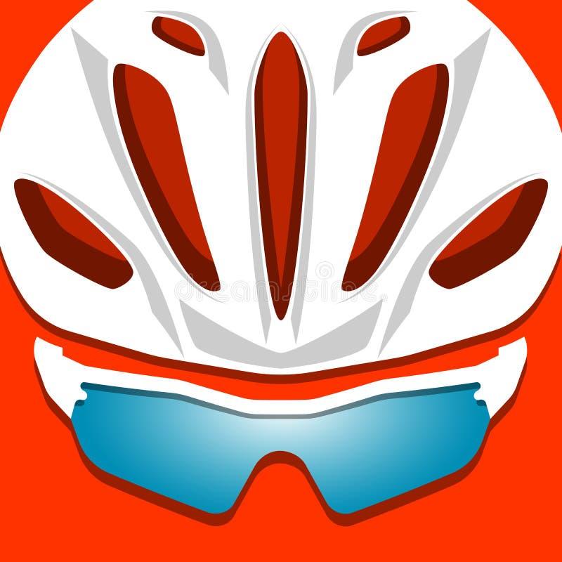 Illustration de casque de cycliste avec des verres illustration libre de droits