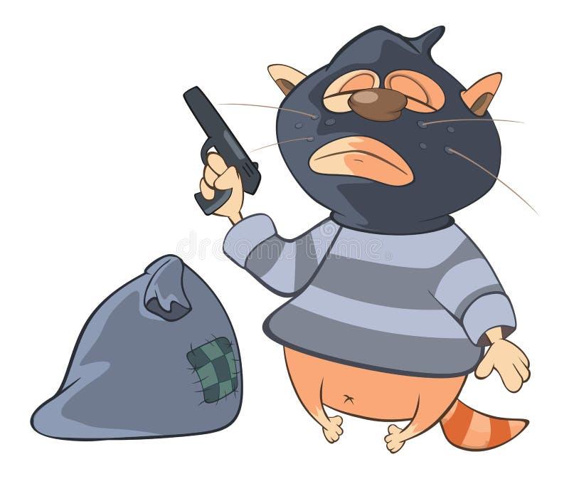 Illustration de Cat Gangster mignonne le chef heureux de crabots mignons effrontés de personnage de dessin animé de fond a isolé  illustration de vecteur