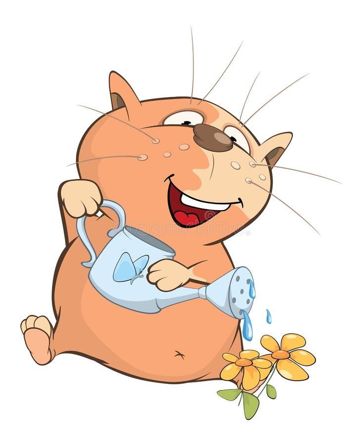 Illustration de Cat Gardener mignonne le chef heureux de crabots mignons effrontés de personnage de dessin animé de fond a isolé  illustration de vecteur