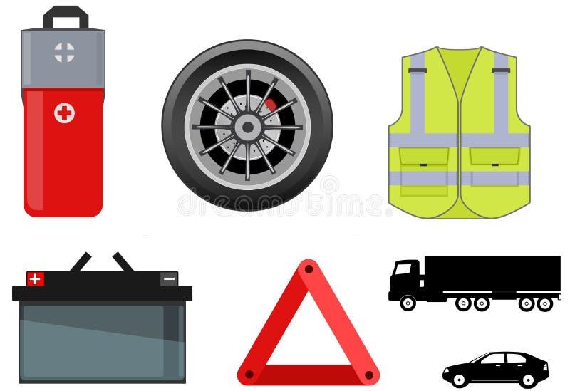 Illustration de certains outils pour l'urgence routière illustration stock