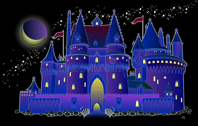 Illustration de château médiéval de royaume des fées d'imagination la nuit Couverture pour le livre de conte de fées de bébé Copi illustration stock