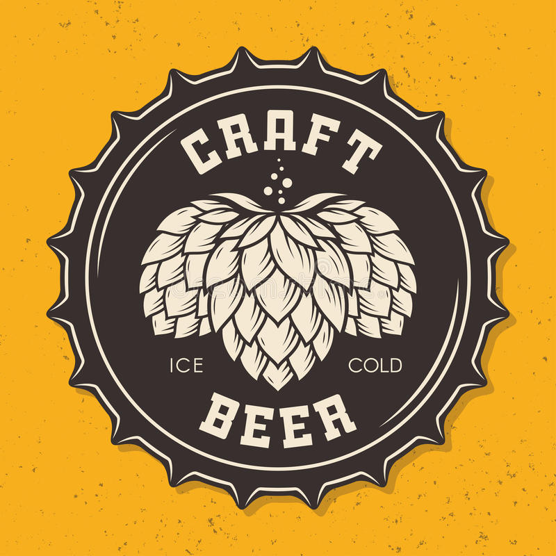 Illustration de chapeau de bouteille à bière de métier avec des houblon illustration libre de droits