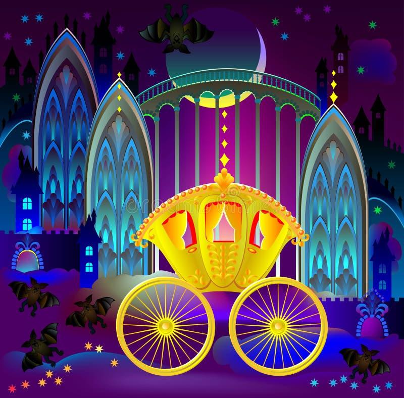 Illustration de chariot d'or fantastique dans le royaume du pays des merveilles illustration stock