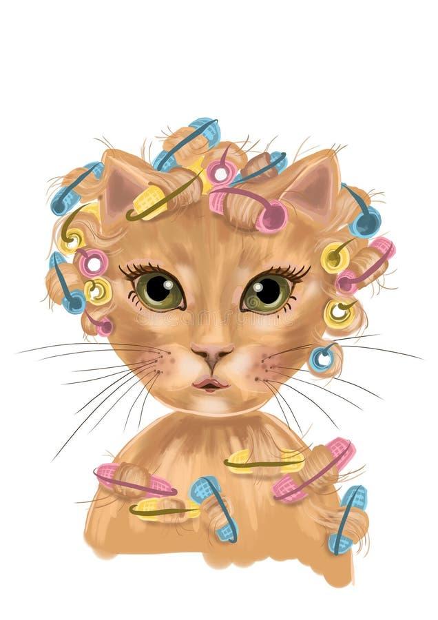 Illustration de chat avec des bigoudis et des yeux verts photos stock