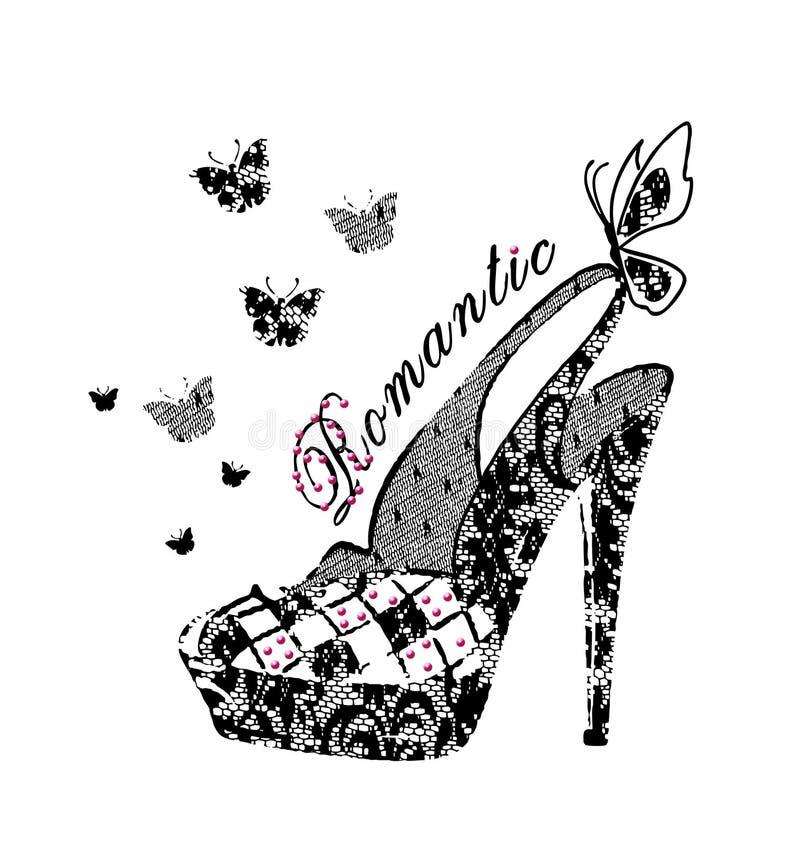 Illustration de chaussures de dentelle, copie de T-shirt illustration stock