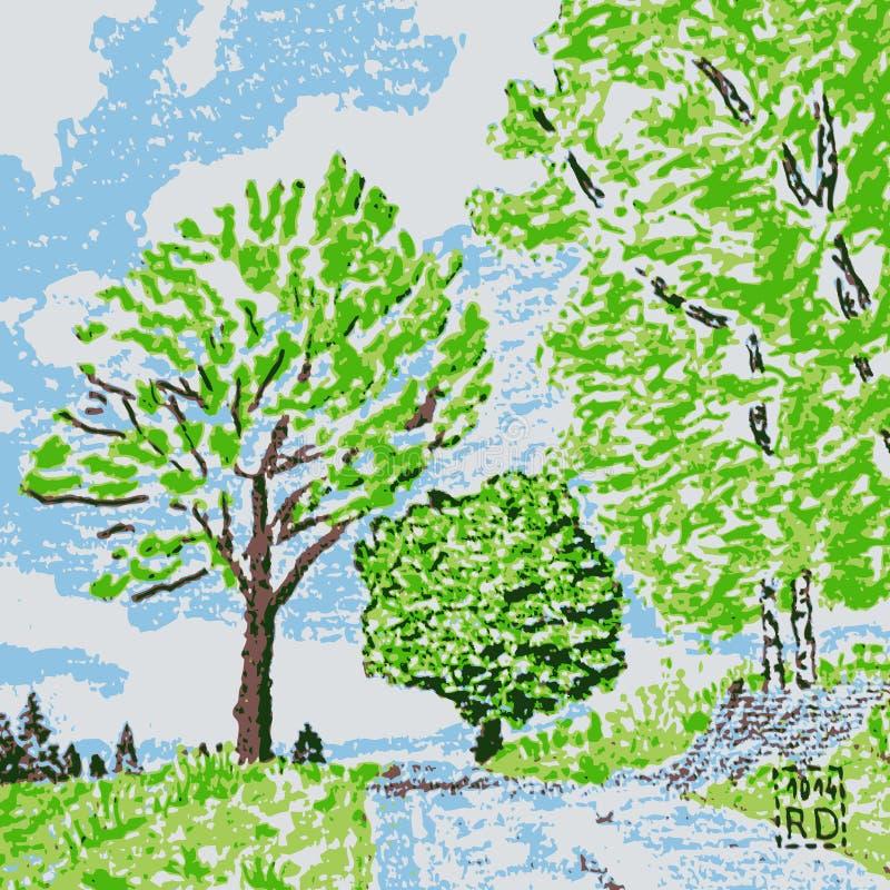 Illustration de chemin forestier photos libres de droits