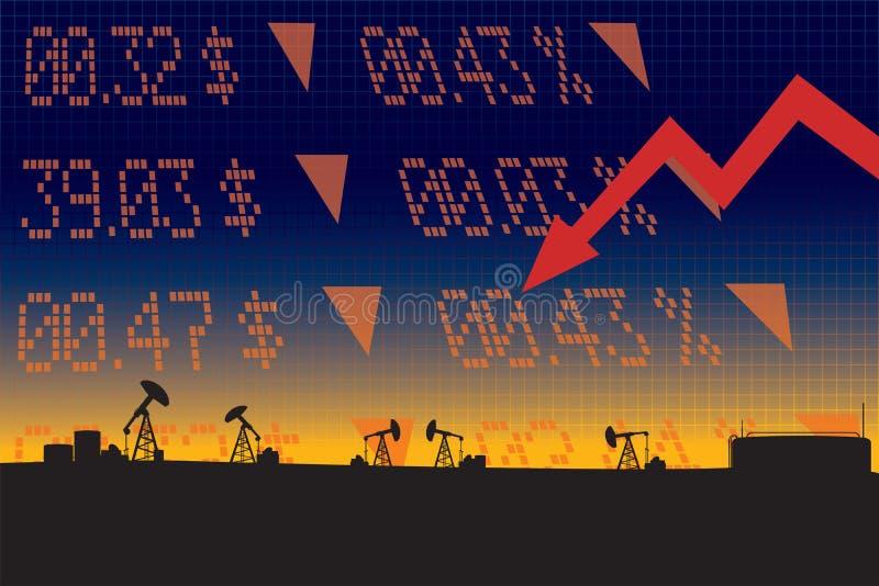 Illustration de chute de prix du pétrole avec vers le bas la flèche rouge illustration stock