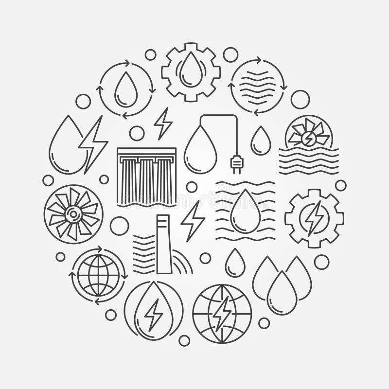 Illustration de circulaire de concept d'hydroélectricité illustration de vecteur