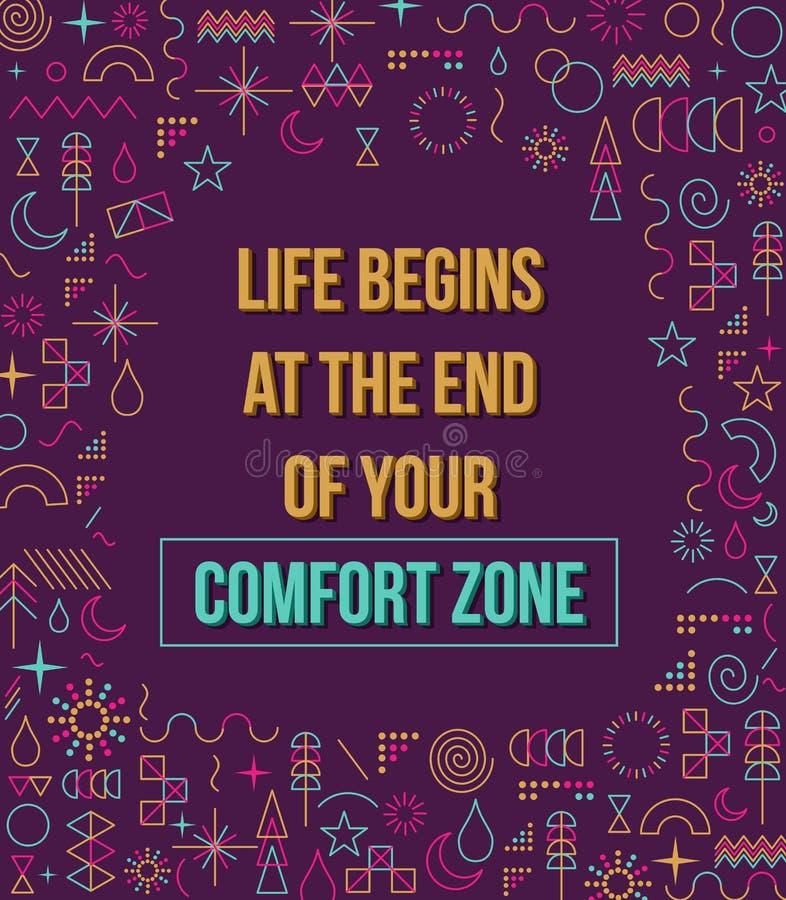 Illustration de citation d'inspiration de zone de confort illustration stock