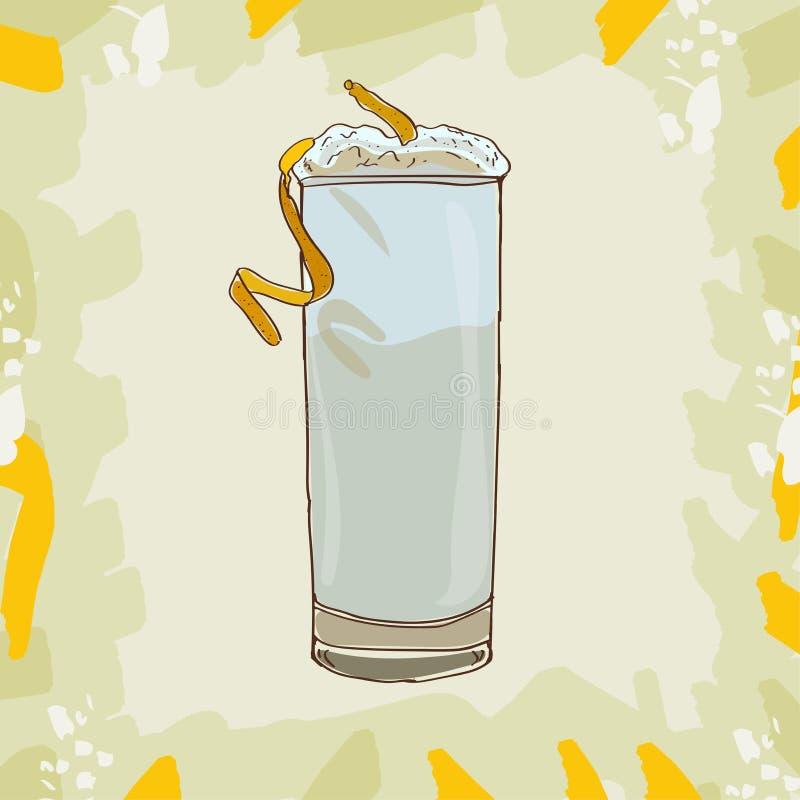 Illustration de cocktail de Ramos Gin Fizz Vecteur tiré par la main de boissons alcooliques de barre Art de bruit illustration de vecteur