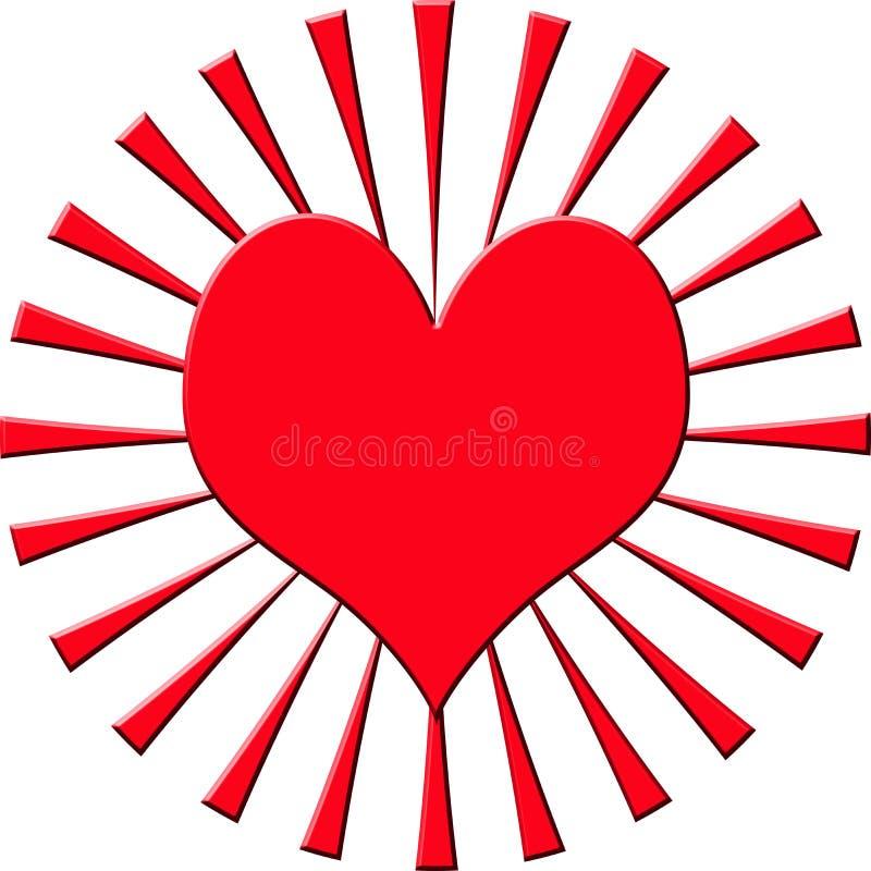 Illustration de coeur avec le rayon de soleil illustration stock
