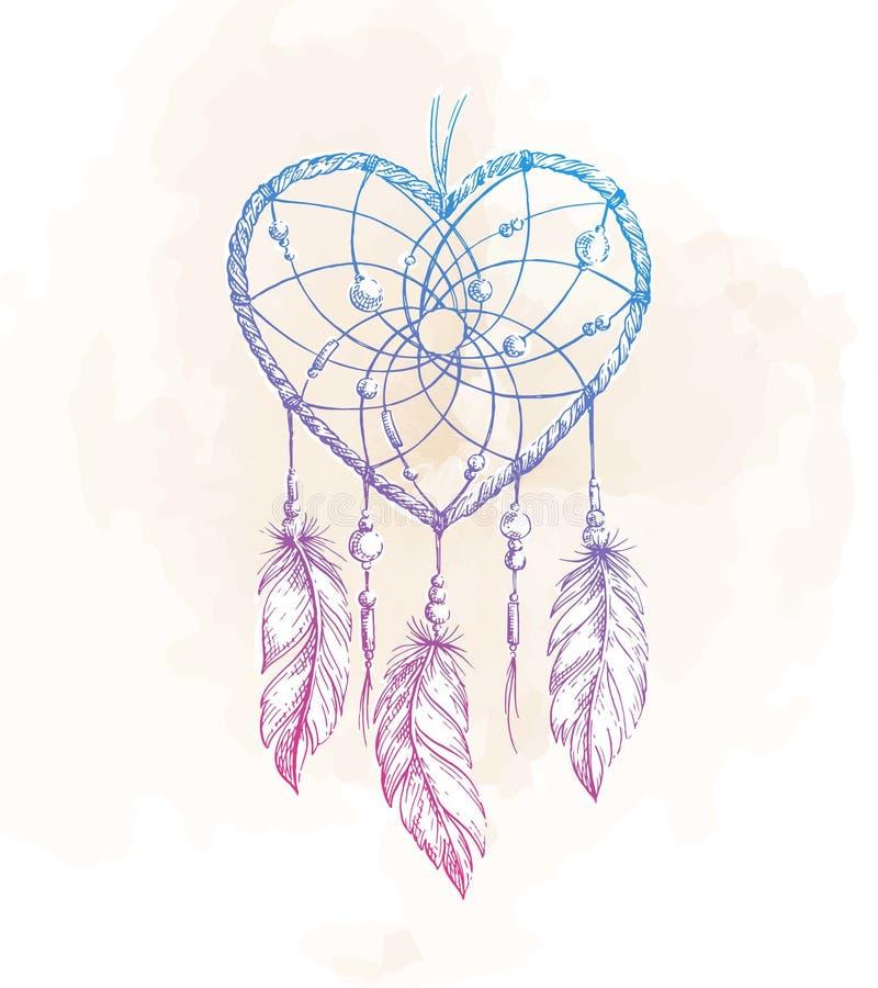 Illustration de coeur de Dreamcatcher illustration libre de droits