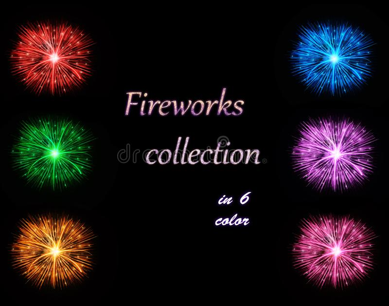 Illustration de collection de feux d'artifice dans 6 couleurs illustration libre de droits