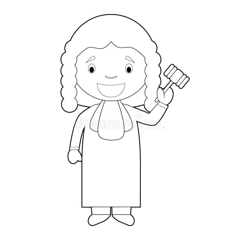 Illustration de coloration facile de vecteur de bande dessinée d'un juge illustration stock