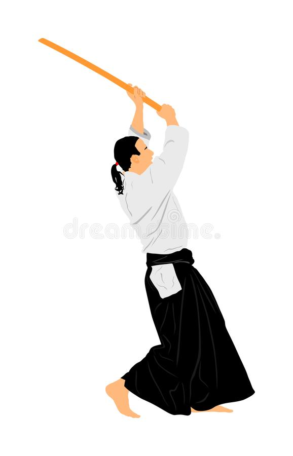 Illustration de combattant d'Aikido Action de formation Autod?fense, concept excercising d'art de la d?fense Instructeur d'Aikido illustration de vecteur