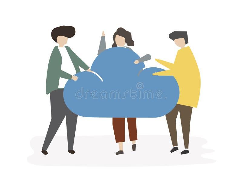 Illustration de concept de connexion de nuage d'avatar de personnes illustration stock