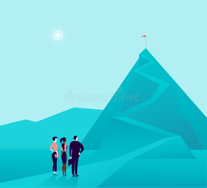Illustration de concept d'affaires avec la position d'équipe d'hommes d'affaires à la PIC de montagne et l'observation sur le des illustration stock