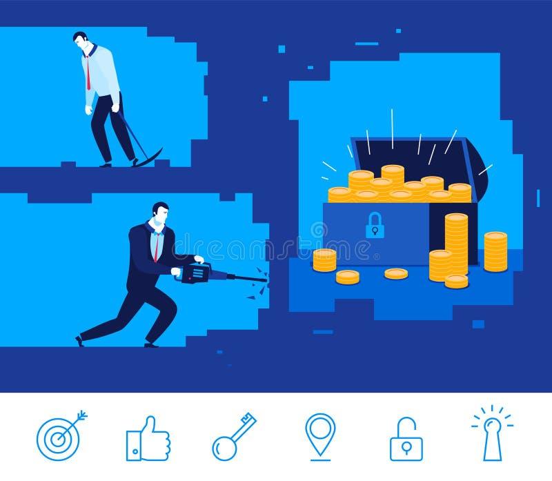 Illustration de concept d'affaires de vecteur Homme d'affaires deux creusant la terre illustration de vecteur