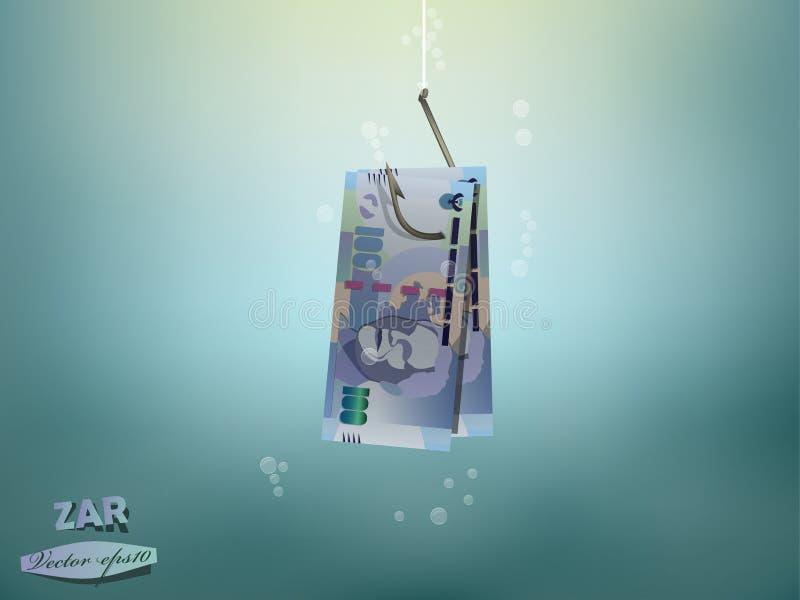Illustration de concept d'argent, papier d'argent de couche-point sud-africain sur l'hameçon illustration de vecteur