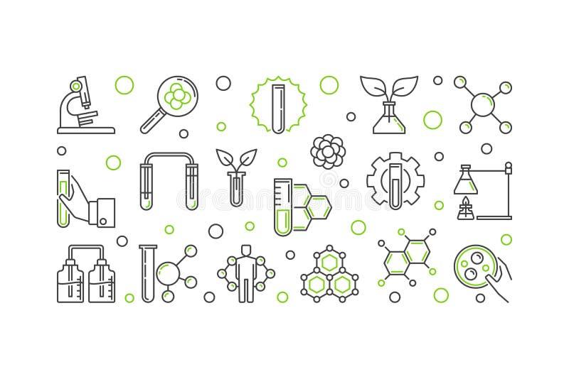 Illustration de concept d'ensemble de vecteur de biochimie illustration stock