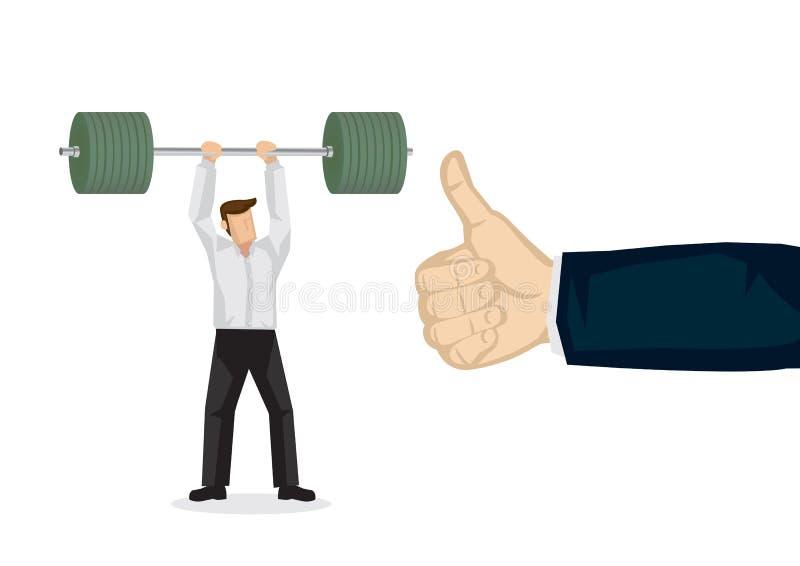Illustration de concept d'un homme d'affaires soulevant un poids lourd Un pouce géant de son employeur illustration stock