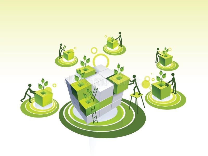 Illustration de concept d'une communauté vivante verte illustration stock