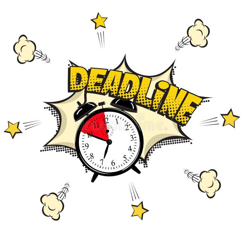 Illustration de concept de date-butoir dans le style de bande dessinée Dirigez le réveil et le mot de date-butoir d'isolement sur illustration de vecteur