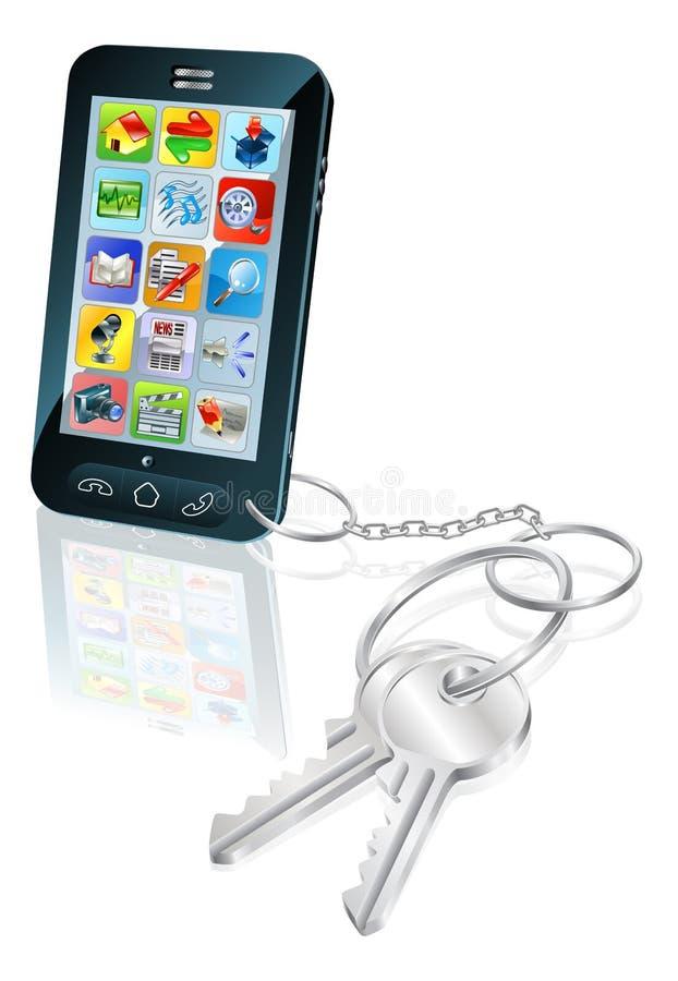 Illustration de concept de clés de garantie d'accès de téléphone illustration libre de droits