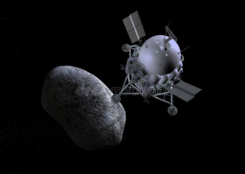 Illustration de concept de comète d'atterrissage de mission de vaisseau spatial illustration stock