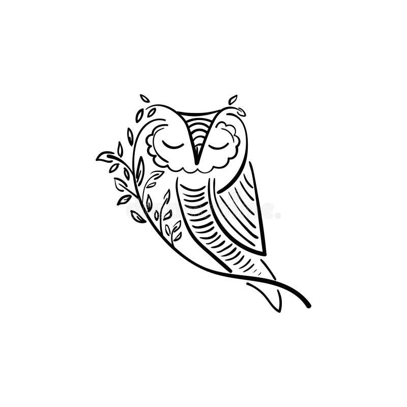 Illustration de concept de hibou avec la branche et la feuille illustration libre de droits