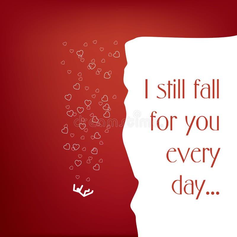 Illustration de concept de jour de valentines avec une citation et une personne étant amoureuse illustration de vecteur