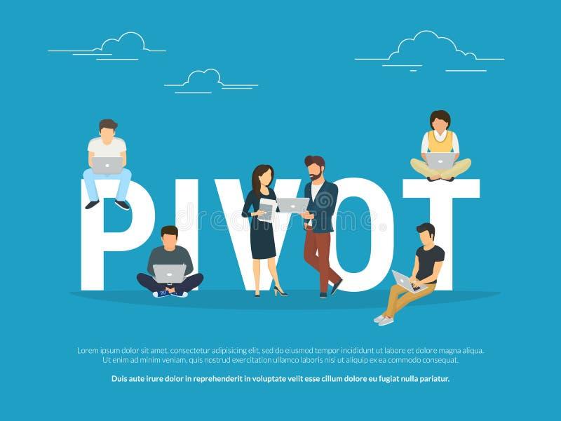 Illustration de concept de pivot des gens d'affaires travaillant ensemble comme équipe illustration stock