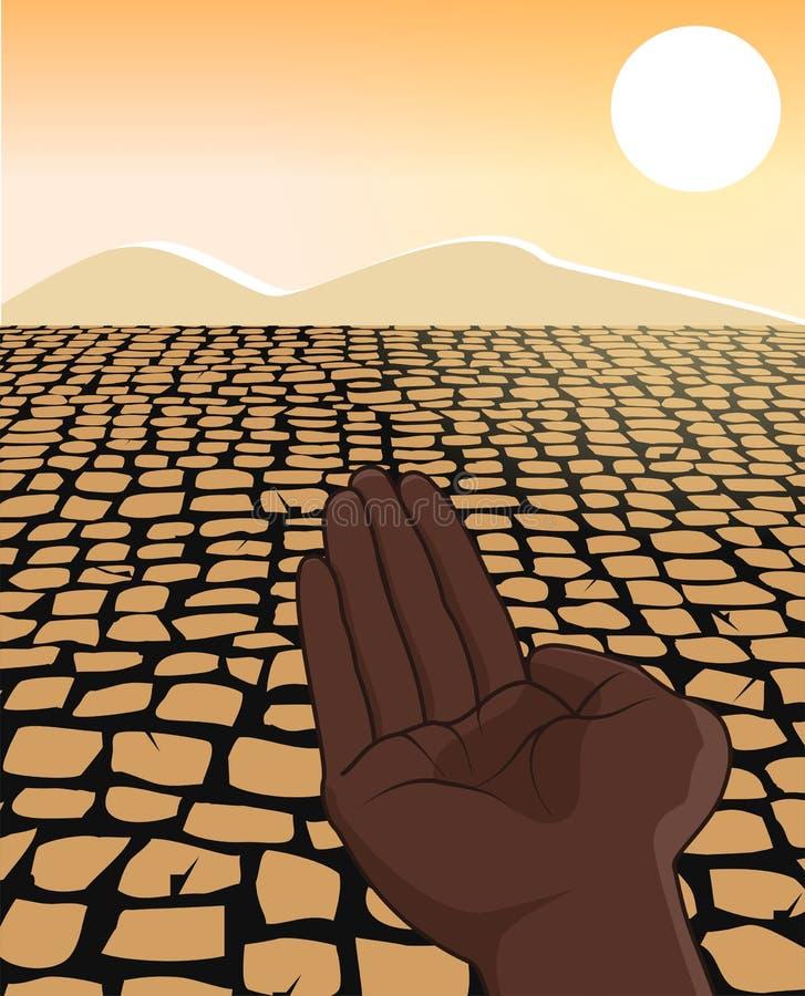 Illustration de concept de réfugié de famine de sécheresse de l'Afrique illustration de vecteur