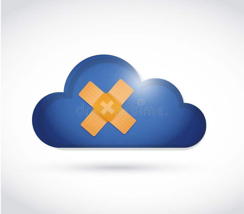 illustration de concept de solution de difficulté d'aide de bande de nuage illustration de vecteur