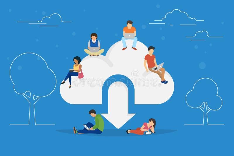 Illustration de concept de téléchargement de nuage illustration libre de droits