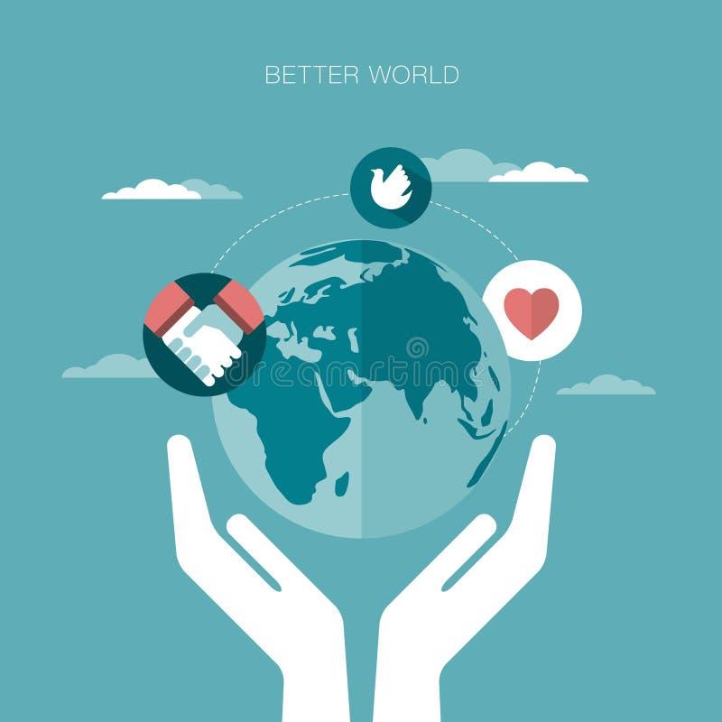 Illustration de concept de vecteur d'un meilleur monde illustration libre de droits