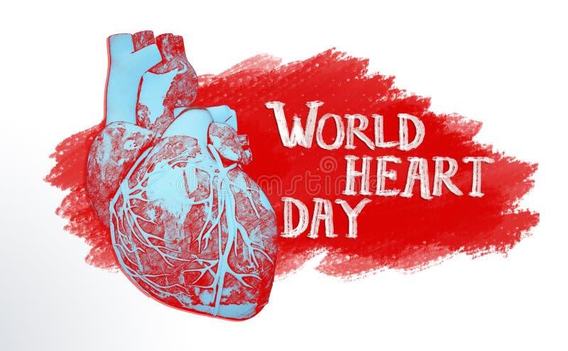 illustration de concept de jour de coeur du monde images stock