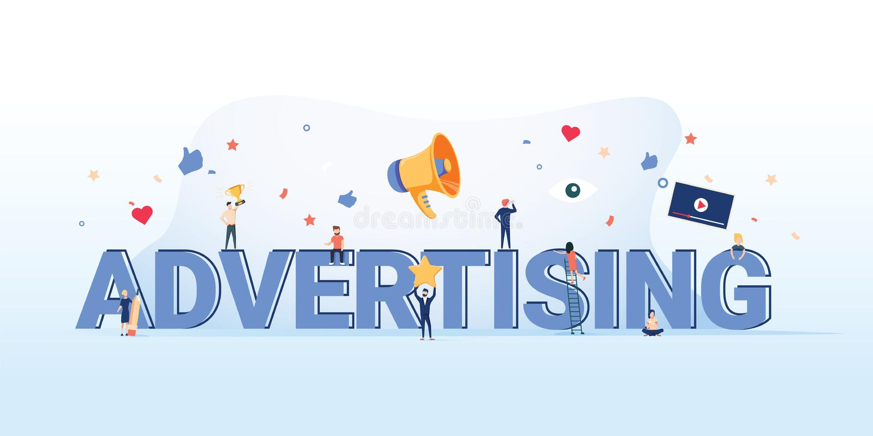 Illustration de concept de la publicité Idée de la promotion et du marketing Fond de commercialisation d'affaires en ligne de pub illustration de vecteur