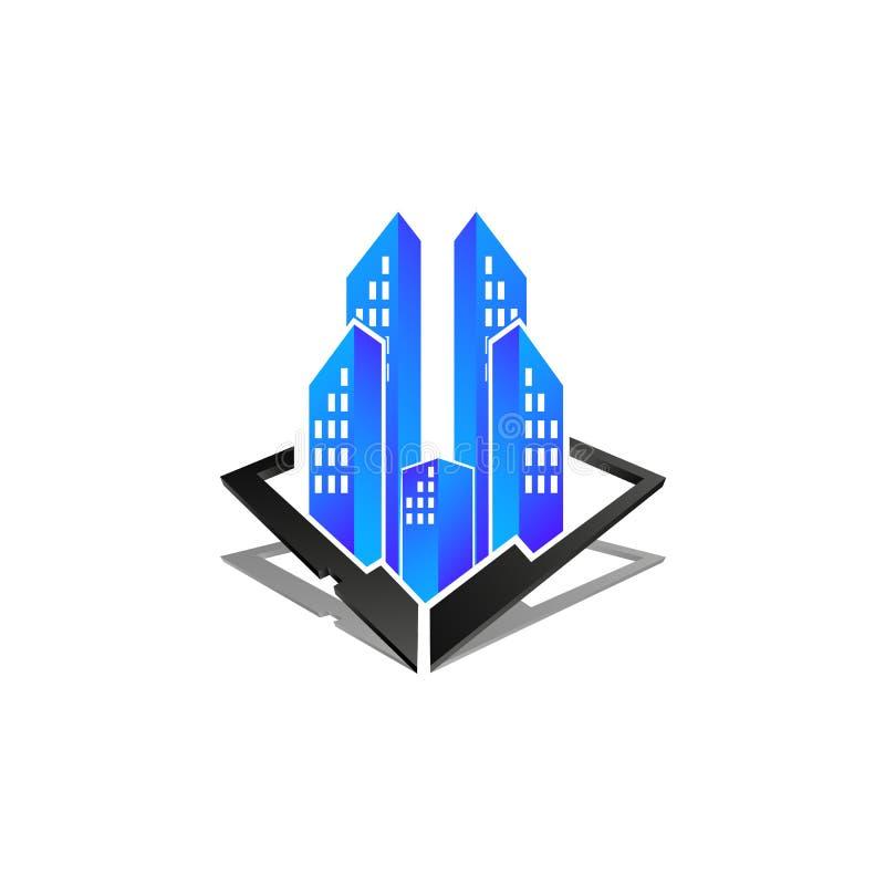 Illustration de concept de logo d'immobiliers, logo de construction en trois Di illustration stock