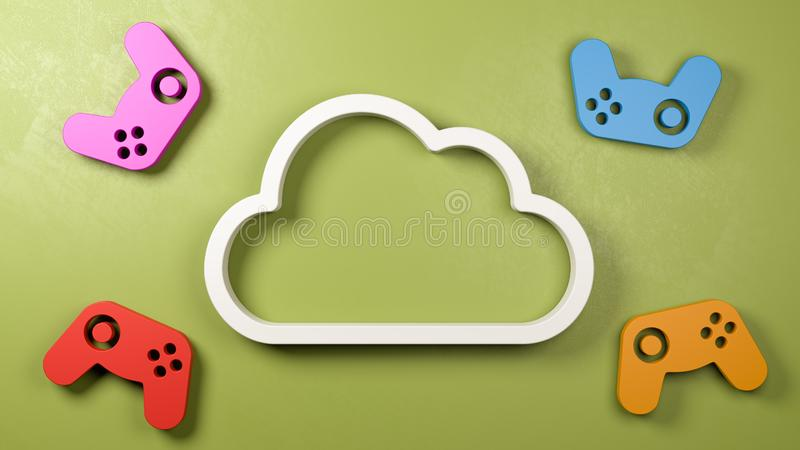 Illustration de concept de service de jeu de nuage illustration stock