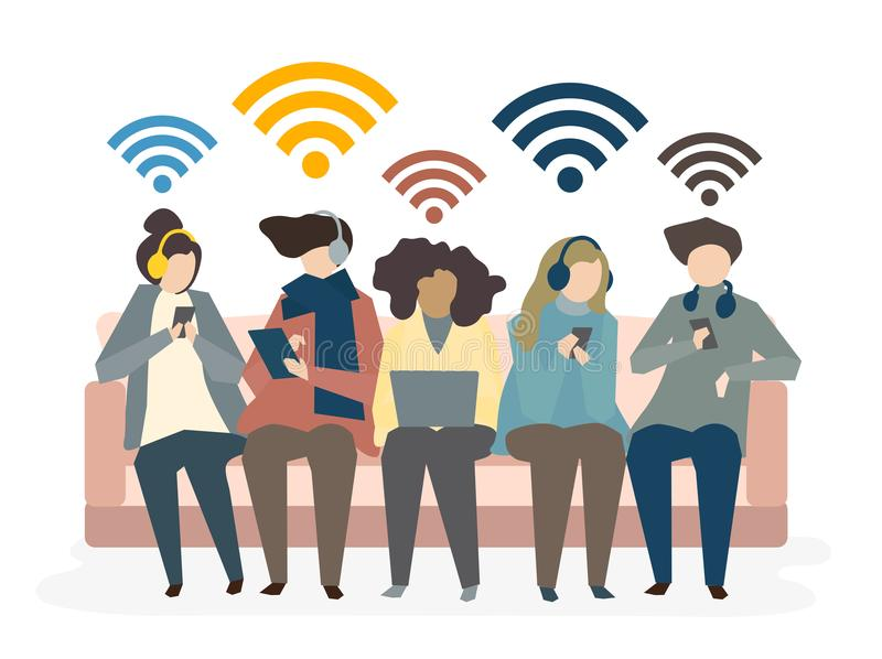 Illustration de concept social de réseau d'avatar illustration de vecteur