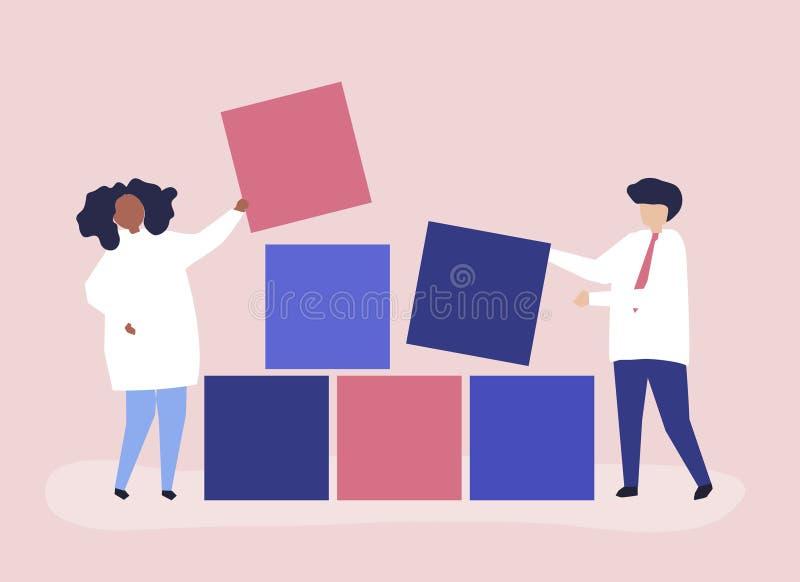 Illustration de concept de travail d'équipe des blocs constitutifs d'un couple ensemble illustration libre de droits