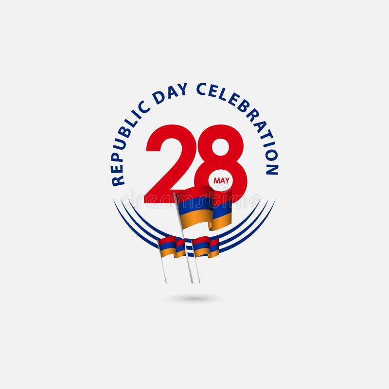 Illustration de conception de calibre de vecteur de célébration de jour de République de l'Arménie de 28 ans illustration libre de droits