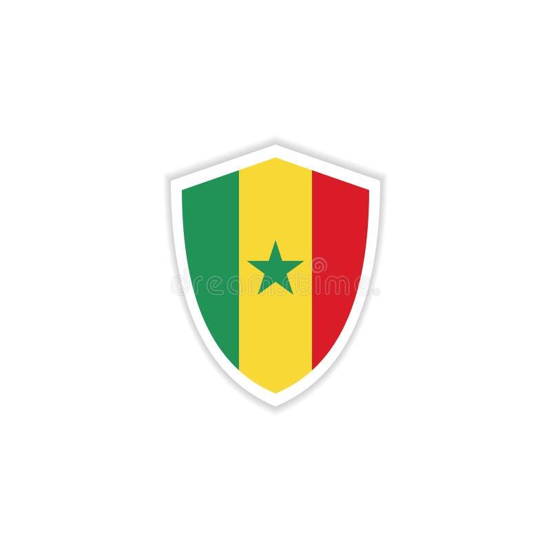 Illustration de conception de calibre de vecteur d'emblème de drapeau du Sénégal illustration libre de droits