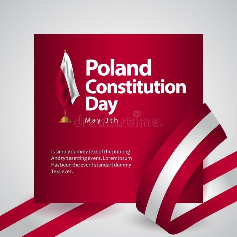 Illustration de conception de calibre de vecteur de drapeau de jour de constitution de la Pologne illustration de vecteur