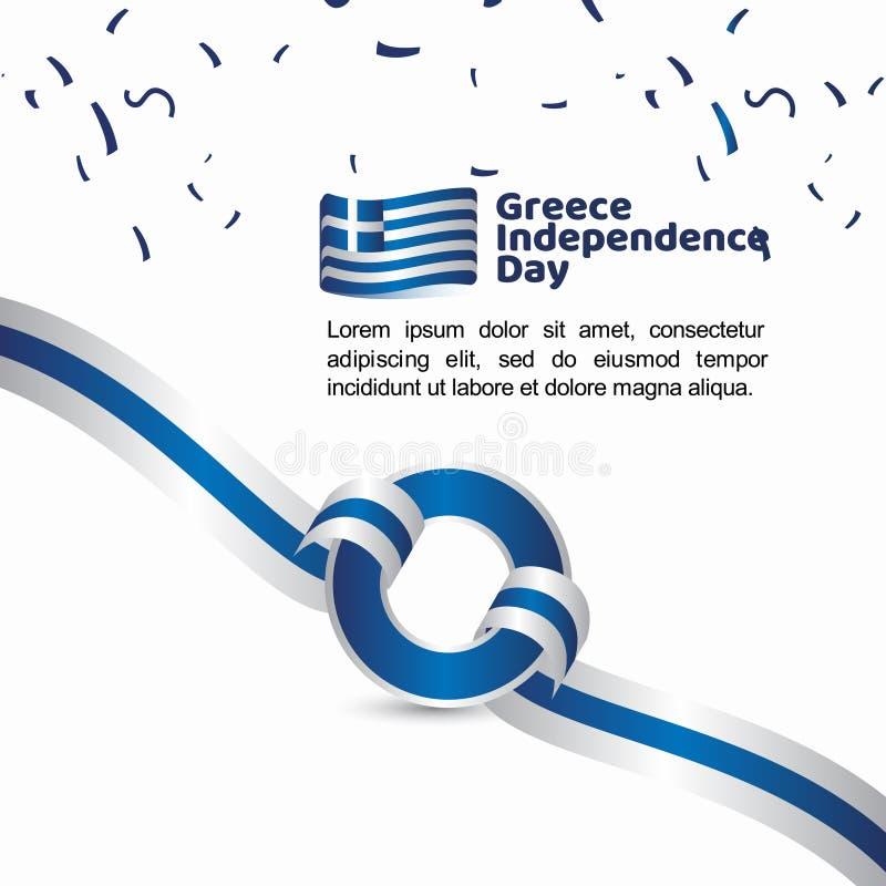 Illustration de conception de calibre de vecteur de drapeau de Jour de la Déclaration d'Indépendance de la Grèce illustration stock