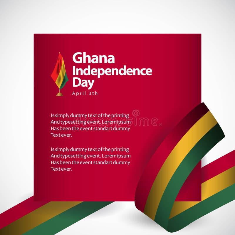 Illustration de conception de calibre de vecteur de Jour de la Déclaration d'Indépendance du Ghana illustration de vecteur