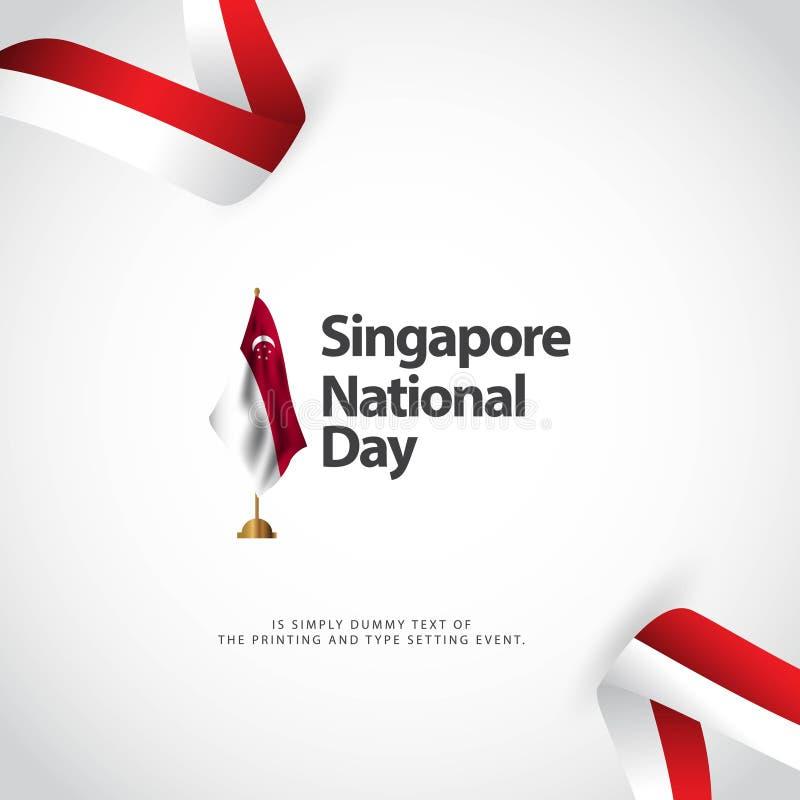 Illustration de conception de calibre de vecteur de jour national de Singapour illustration libre de droits